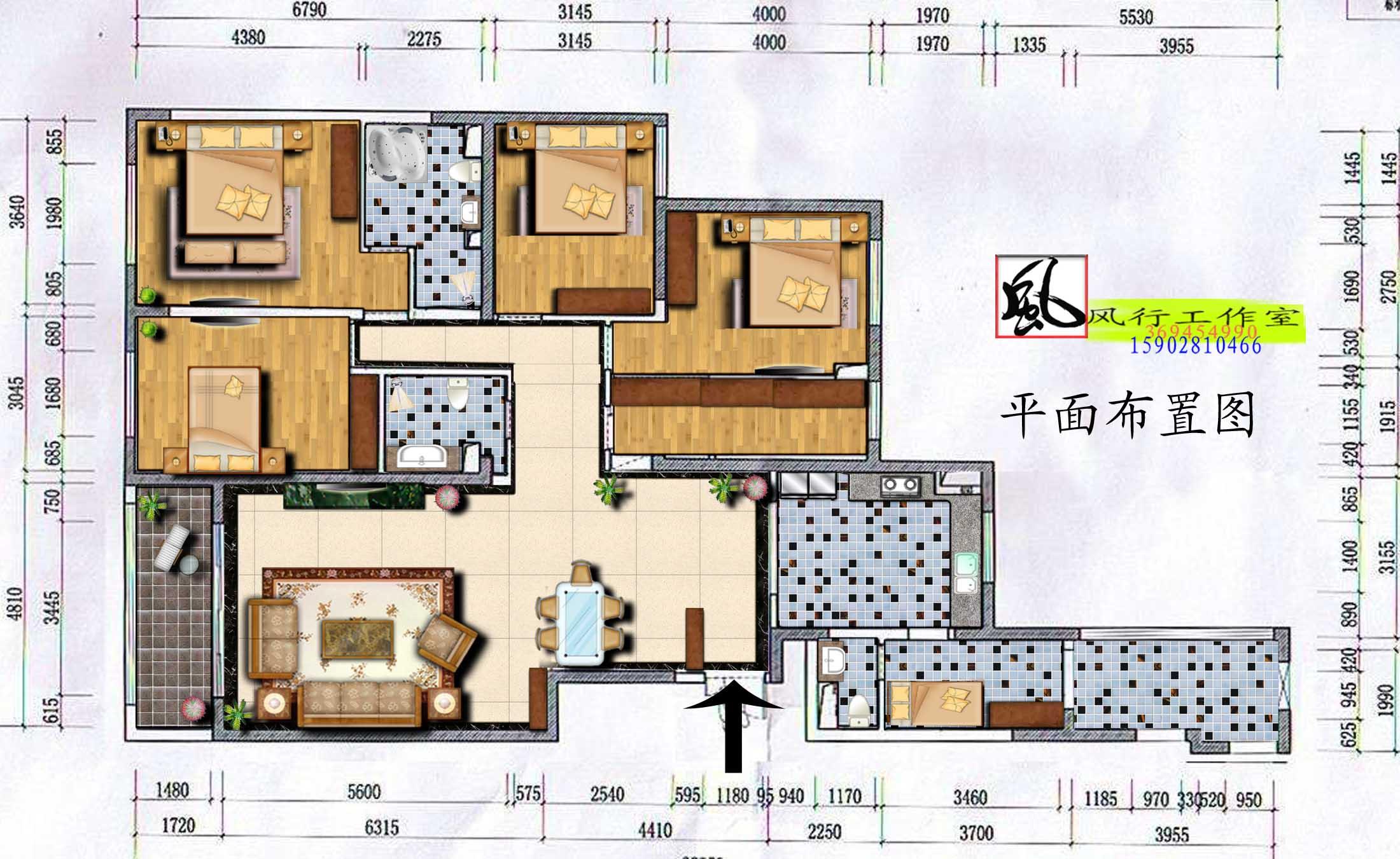 四房二廳的室內裝修效果圖及平面圖