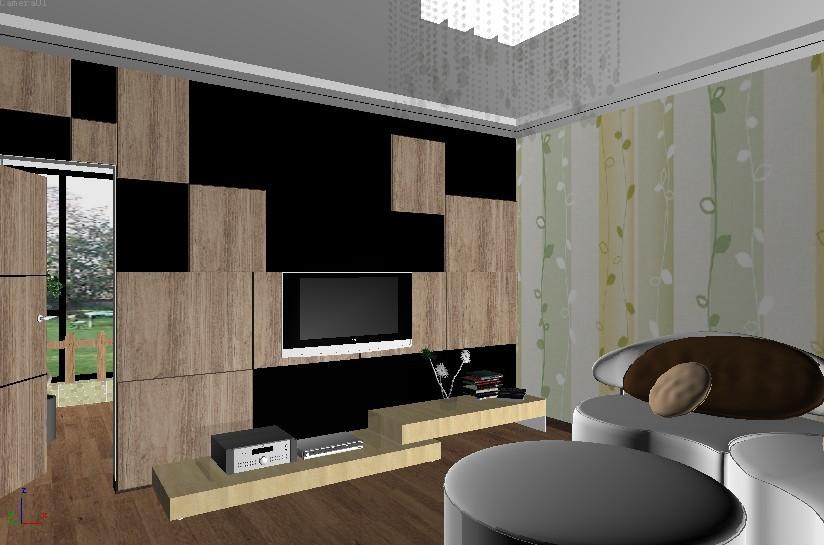 客廳隔離兒童房+電視墻+墻面裝飾