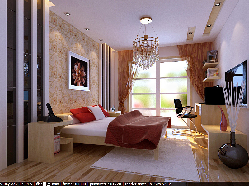 总体要求:,房子建筑面积是88平方米。要现代简约明快的风格,颜色要温馨,布置要紧凑。客厅和卧室都用复合木地板。 1. 主卧: 朝阳的。希望阳台那里有个塌塌米;同时也设计一个简单的办公区(带书架);需要一个衣柜 2. 次卧: 小孩住。设计充满童趣,颜色活拨,需要放置衣柜,床,书桌,书架。面积有点小,请设计紧凑点。因为没有客厅,床需要双层木架子床。 3.