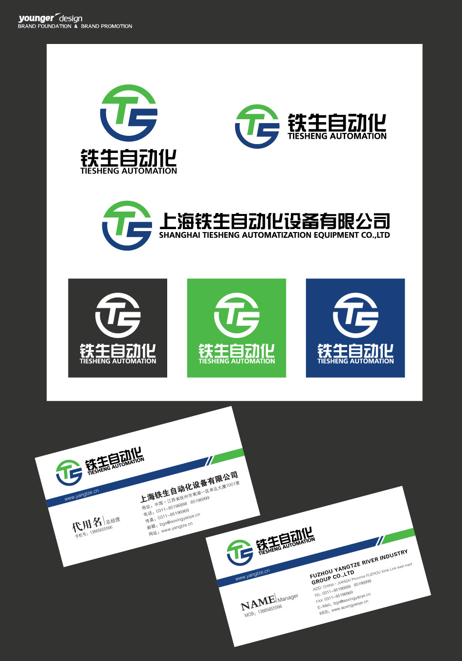 上海铁生自动化设备公司logo设计加名片图片