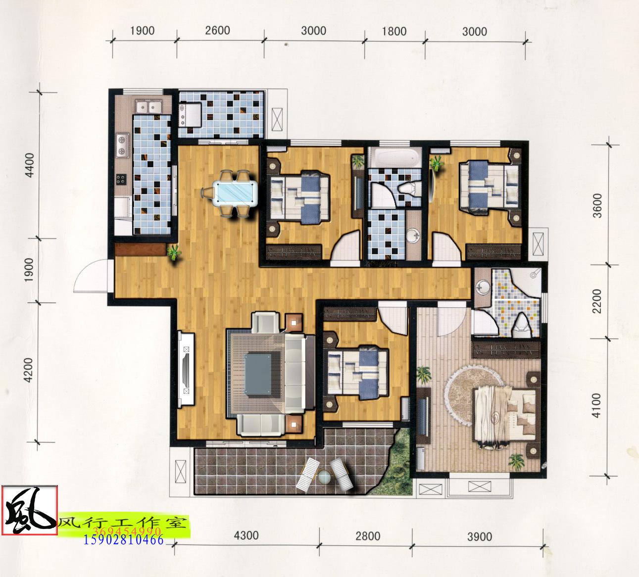 120平米房子 装修设计图四室两厅 1650元 k6