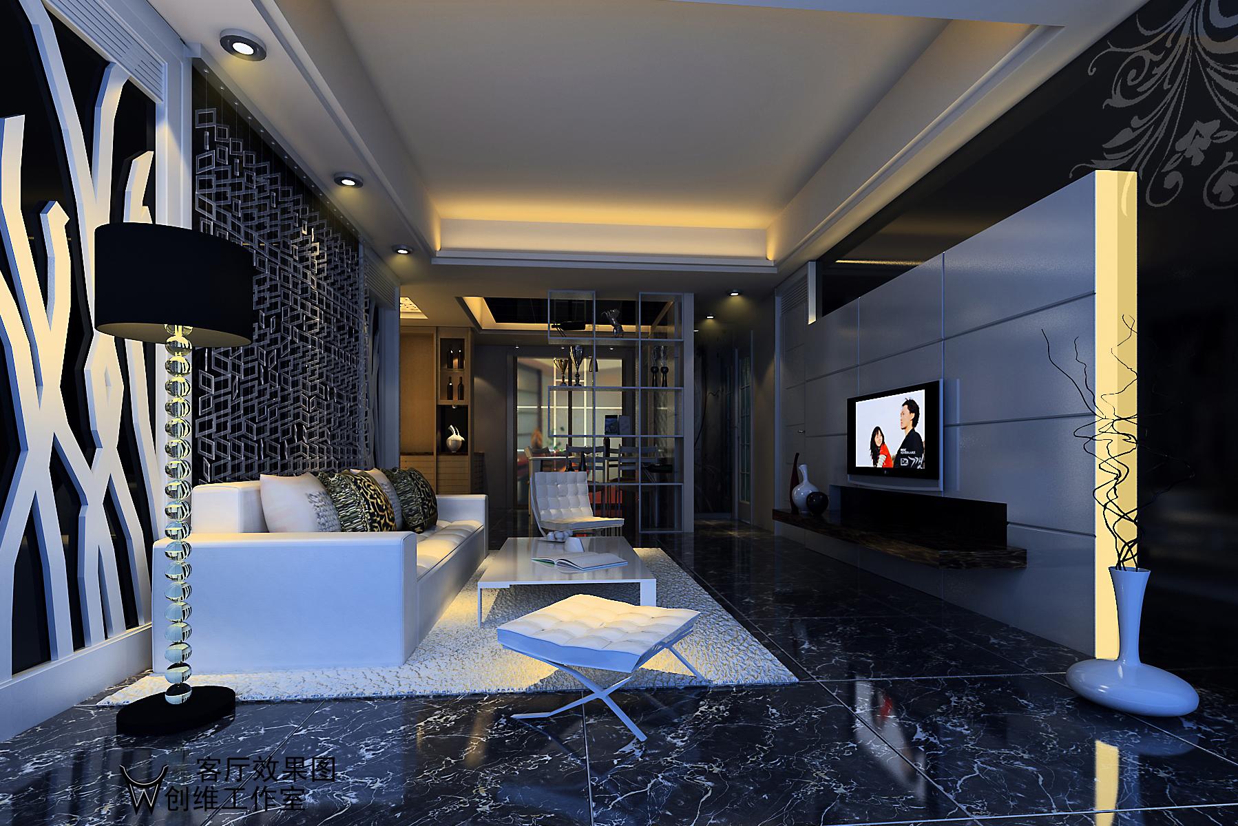 120平米裝修效果圖設計-兩室兩廳