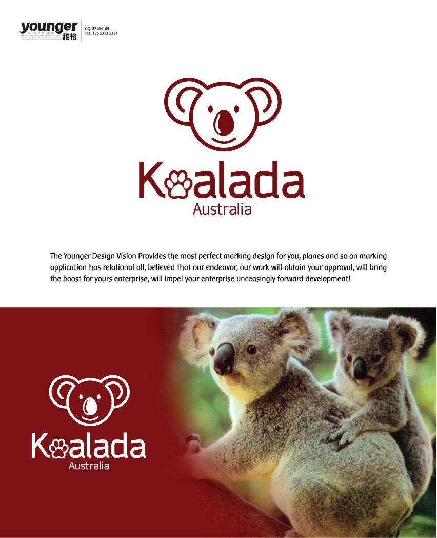 澳洲树袋熊的头作为品牌形象,设计logo