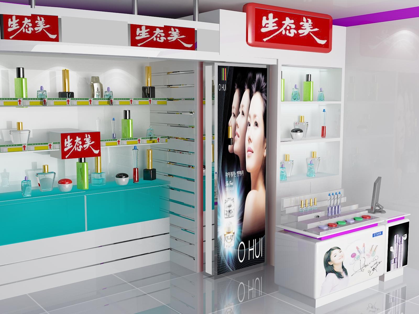 化妝品收銀臺和形象墻裝修效果圖設計